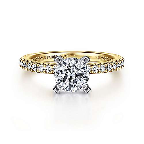 Gabriel - Logan 14k Yellow And White Gold Round Straight Engagement Ring