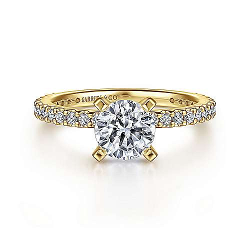 Gabriel - Logan 14k Yellow Gold Round Straight Engagement Ring