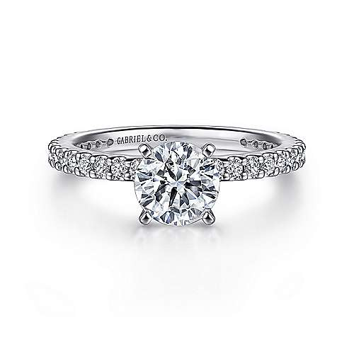 Gabriel - Logan 18k White Gold Round Straight Engagement Ring