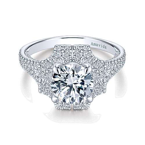 Gabriel - Lois 18k White Gold Round Halo Engagement Ring