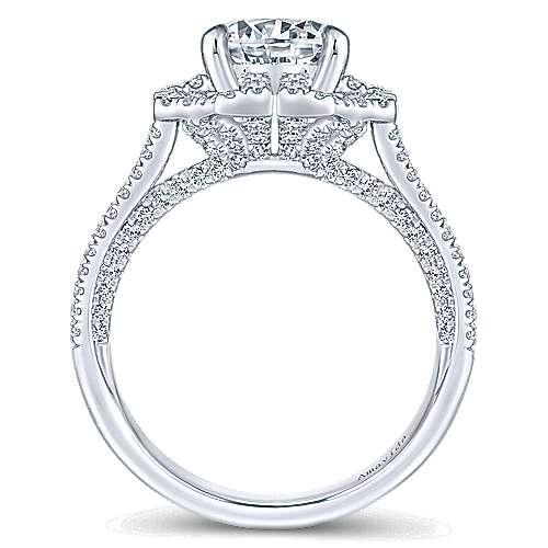 Lois 18k White Gold Round Halo Engagement Ring angle 2
