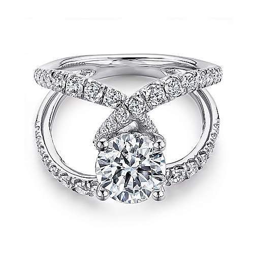 Gabriel - Lola 14k White Gold Round Split Shank Engagement Ring