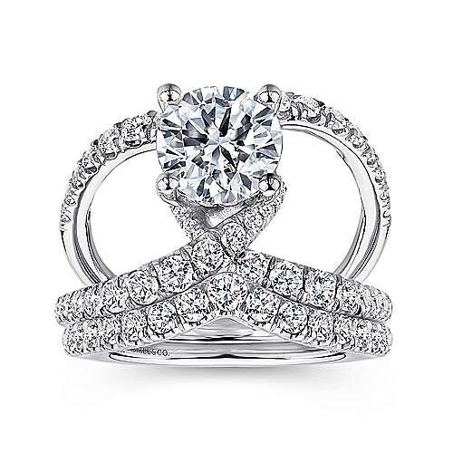 Lola 14k White Gold Round Split Shank Engagement Ring angle 4