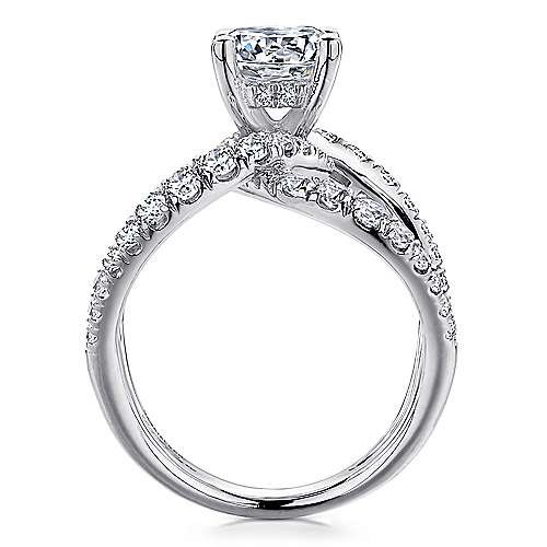 Lola 18k White Gold Round Split Shank Engagement Ring angle 2