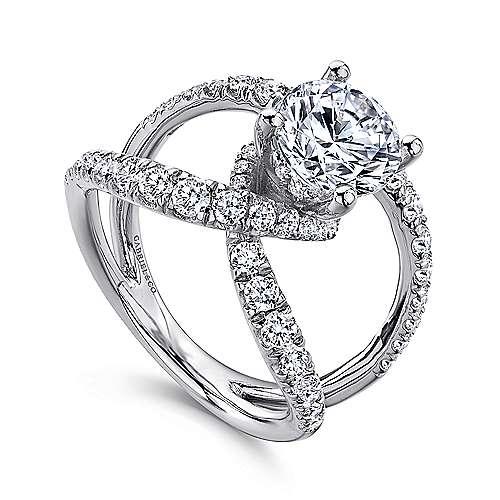 Lola 18k White Gold Round Split Shank Engagement Ring angle 3
