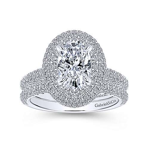 Lolita 18k White Gold Oval Double Halo Engagement Ring angle 4