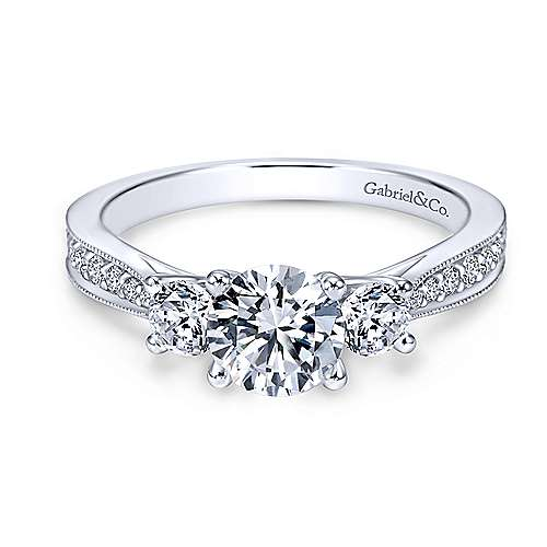 Gabriel - Lorene 14k White Gold Round 3 Stones Engagement Ring