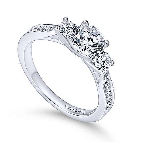 Lorene 14k White Gold Round 3 Stones Engagement Ring angle 3
