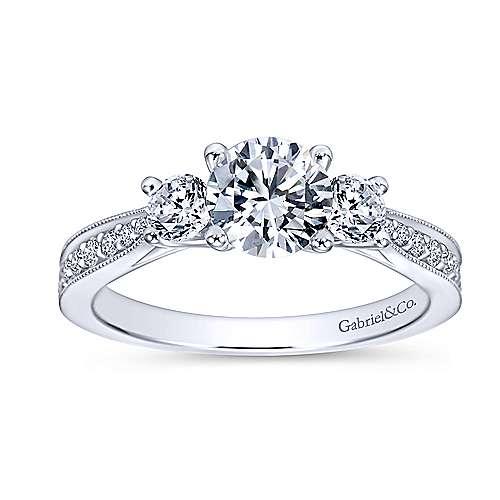 Lorene 14k White Gold Round 3 Stones Engagement Ring angle 5