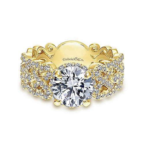 Gabriel - Loretta 18k Yellow Gold Round Halo Engagement Ring