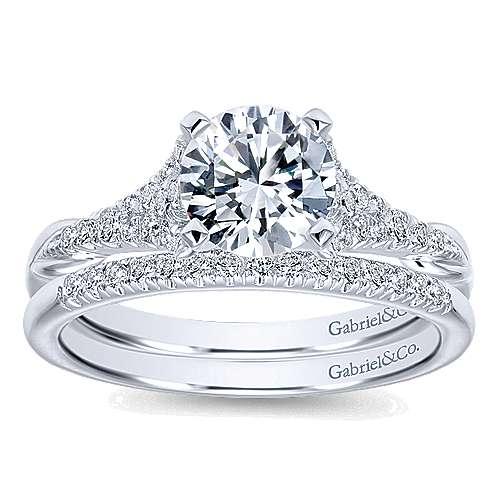 Lori 14k White Gold Round Straight Engagement Ring angle 4