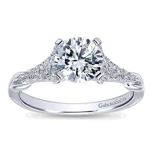 Lori 14k White Gold Round Straight Engagement Ring angle 5