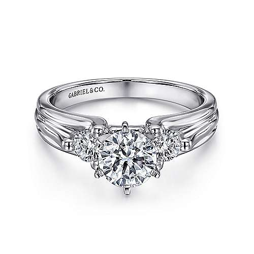 Gabriel - Lorna 14k White Gold Round 3 Stones Engagement Ring