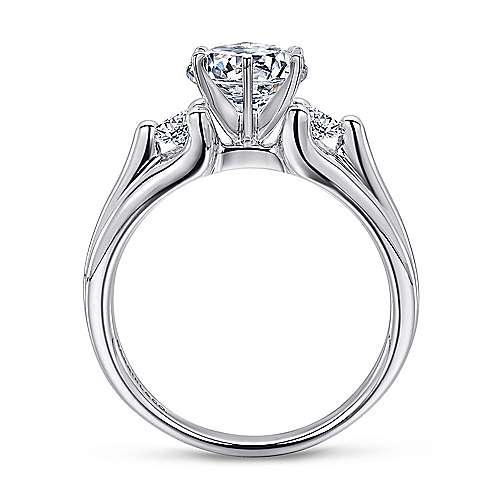 Lorna 14k White Gold Round 3 Stones Engagement Ring angle 2