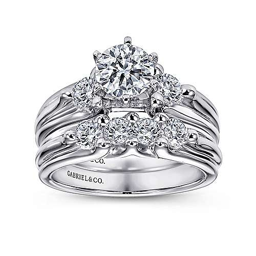 Lorna 14k White Gold Round 3 Stones Engagement Ring angle 4