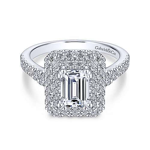Gabriel - Lotus 14k White Gold Emerald Cut Double Halo Engagement Ring