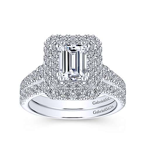 Lotus 14k White Gold Emerald Cut Double Halo Engagement Ring angle 4