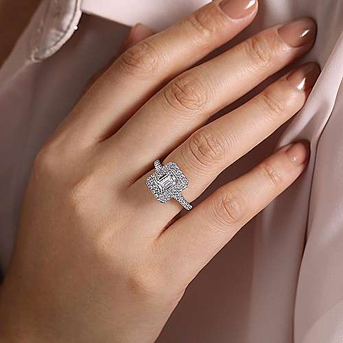 Lotus 14k White Gold Emerald Cut Double Halo Engagement Ring angle 6