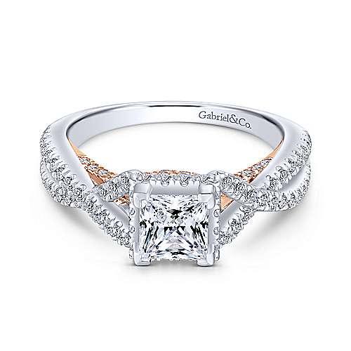Gabriel - Louisa 14k White/pink Gold Princess Cut Twisted Engagement Ring