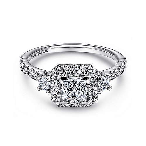 Gabriel - Lover 14k White Gold Princess Cut Halo Engagement Ring