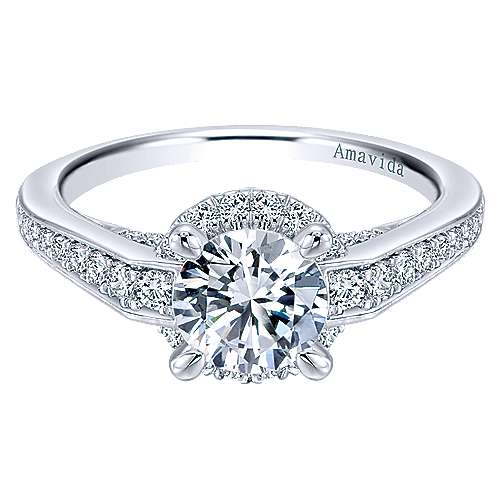 Gabriel - Lovern 18k White Gold Round Halo Engagement Ring