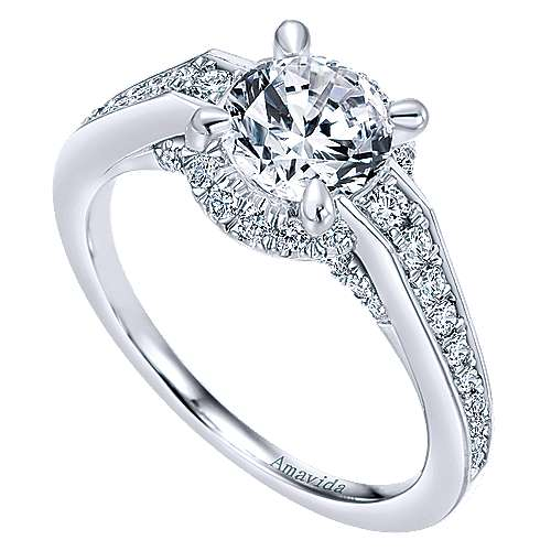 Lovern 18k White Gold Round Halo Engagement Ring angle 3