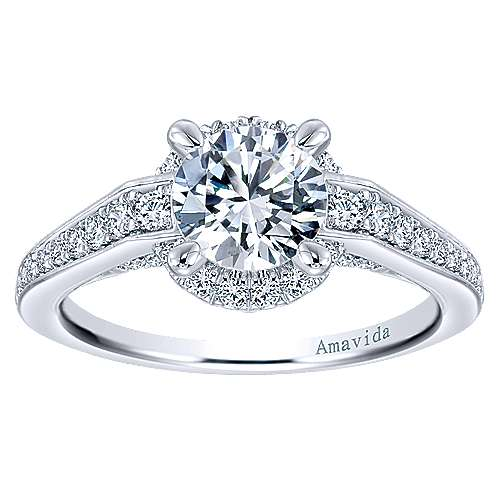 Lovern 18k White Gold Round Halo Engagement Ring