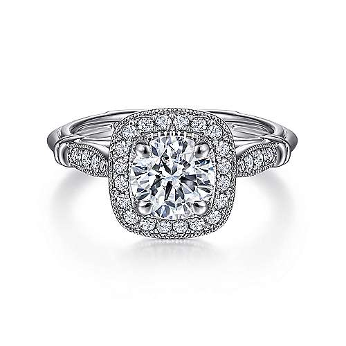 Gabriel - Loyal 18k White Gold Round Halo Engagement Ring