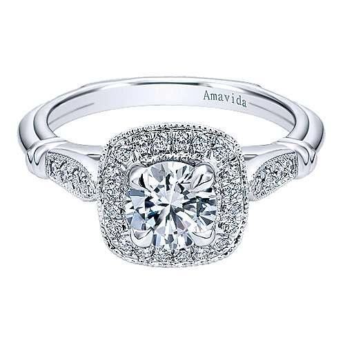 Gabriel - Loyal 18k White Gold Round Halo Engagement Ring