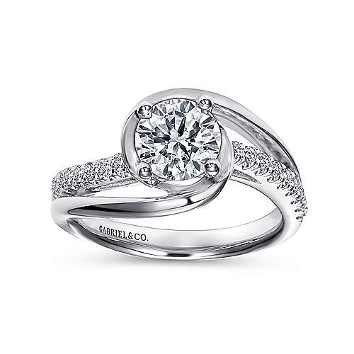 Lucca 14k White Gold Round Bypass Engagement Ring angle 5