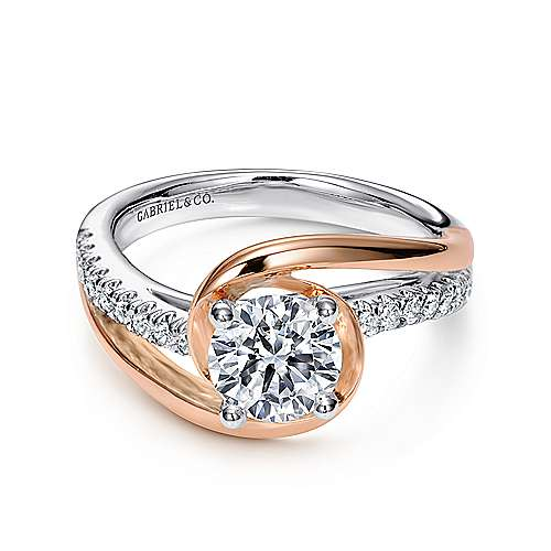 Gabriel - Lucca 14k White/pink Gold Round Bypass Engagement Ring