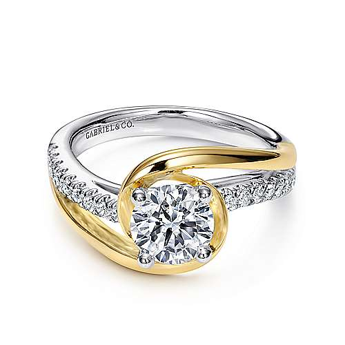 Gabriel - Lucca 14k Yellow/white Gold Round Bypass Engagement Ring