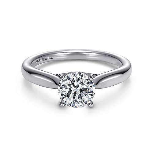 Gabriel - Lucia 14k White Gold Round Solitaire Engagement Ring