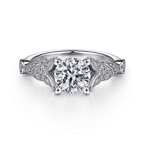 Luciana 14k White Gold Round Split Shank Engagement Ring angle 1