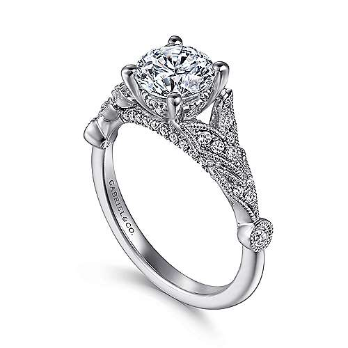 Luciana 14k White Gold Round Split Shank Engagement Ring angle 3