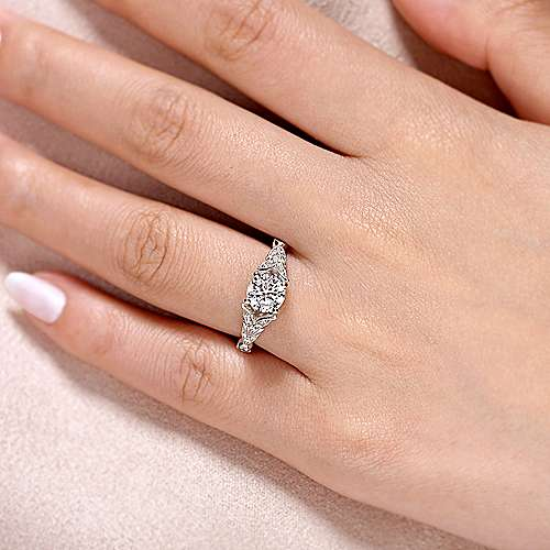 Luciana 14k White Gold Round Split Shank Engagement Ring angle 6