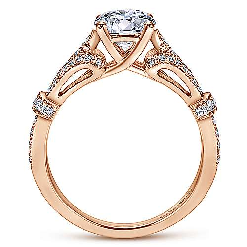 Lucille 14k Pink Gold Round Straight Engagement Ring angle 2
