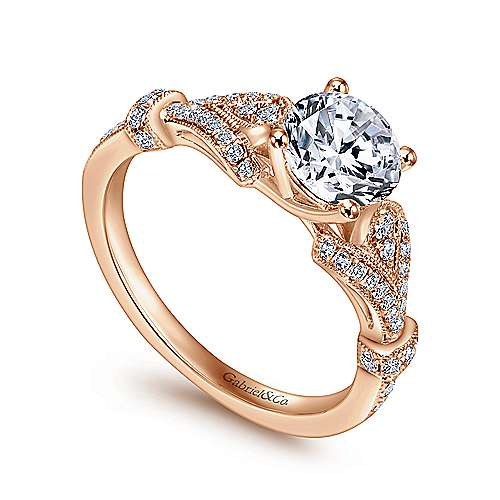 Lucille 14k Pink Gold Round Straight Engagement Ring angle 3