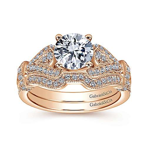 Lucille 14k Pink Gold Round Straight Engagement Ring angle 4