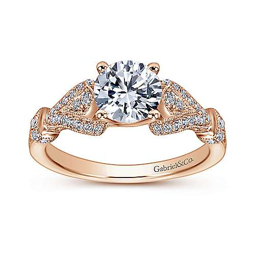Lucille 14k Pink Gold Round Straight Engagement Ring angle 5