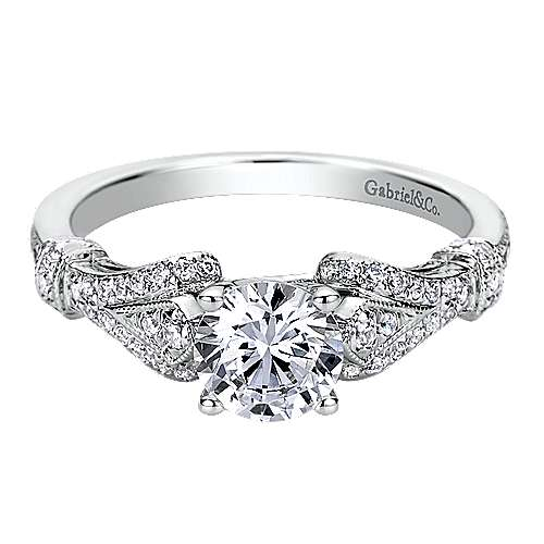 Gabriel - Lucille 14k White Gold Round Split Shank Engagement Ring