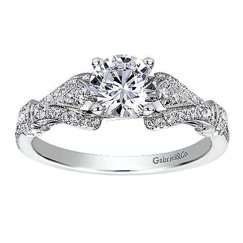 Lucille 14k White Gold Round Split Shank Engagement Ring