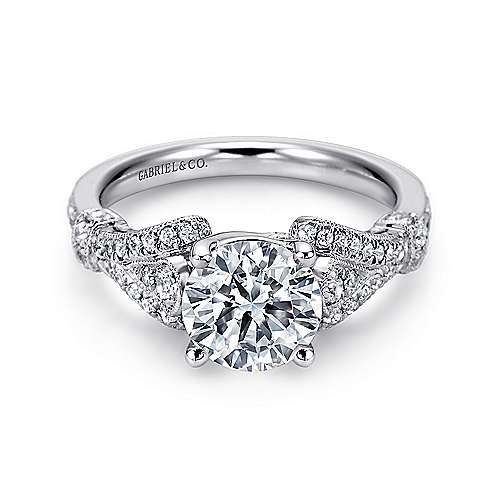 Lucille 14k White Gold Round Split Shank Engagement Ring angle 1