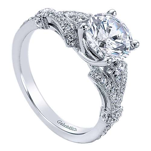 Lucille 14k White Gold Round Split Shank Engagement Ring angle 3