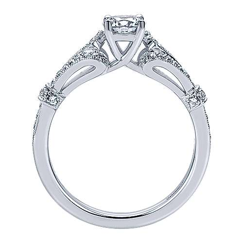 Lucille 14k White Gold Round Split Shank Engagement Ring angle 2