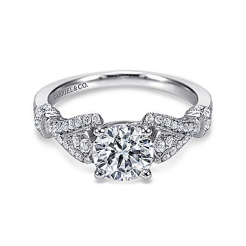 Gabriel - Lucille 14k White Gold Round Straight Engagement Ring