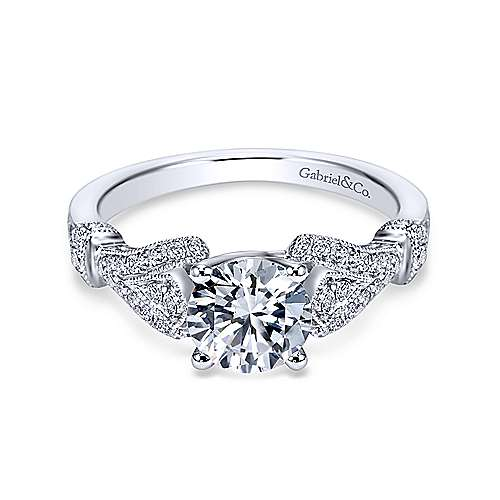 Gabriel - Lucille 18k White Gold Round Straight Engagement Ring