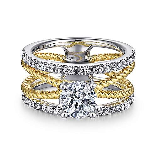 Lucinda 14k Yellow And White Gold Round Twisted Engagement Ring
