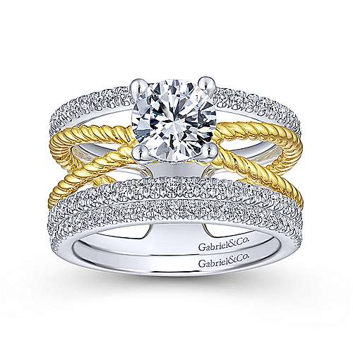 Lucinda 14k Yellow And White Gold Round Twisted Engagement Ring angle 4