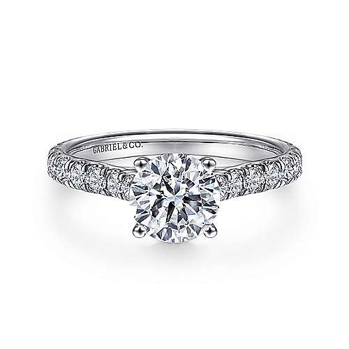 Gabriel - Luciole 18k White Gold Round Straight Engagement Ring
